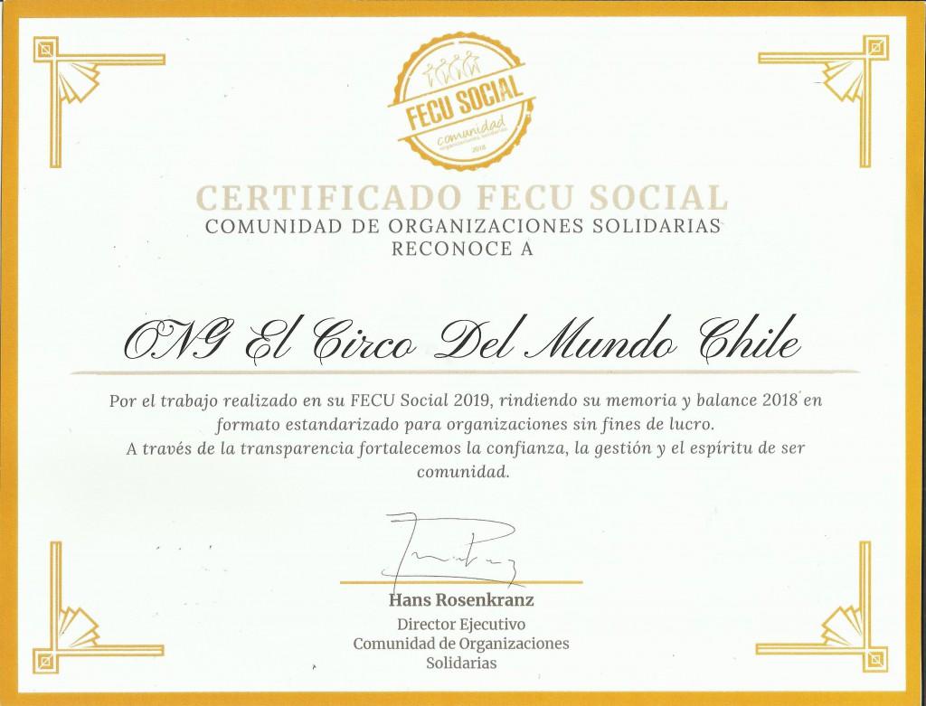 Certificado FECUS 2018
